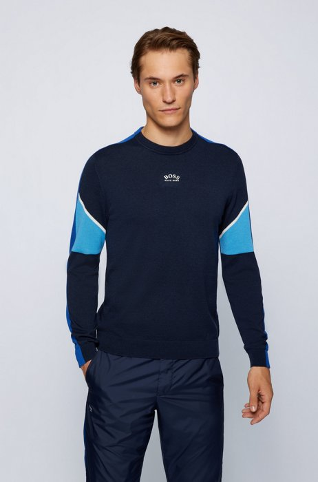 Color-block sweater with curved logo, Dark Blue
