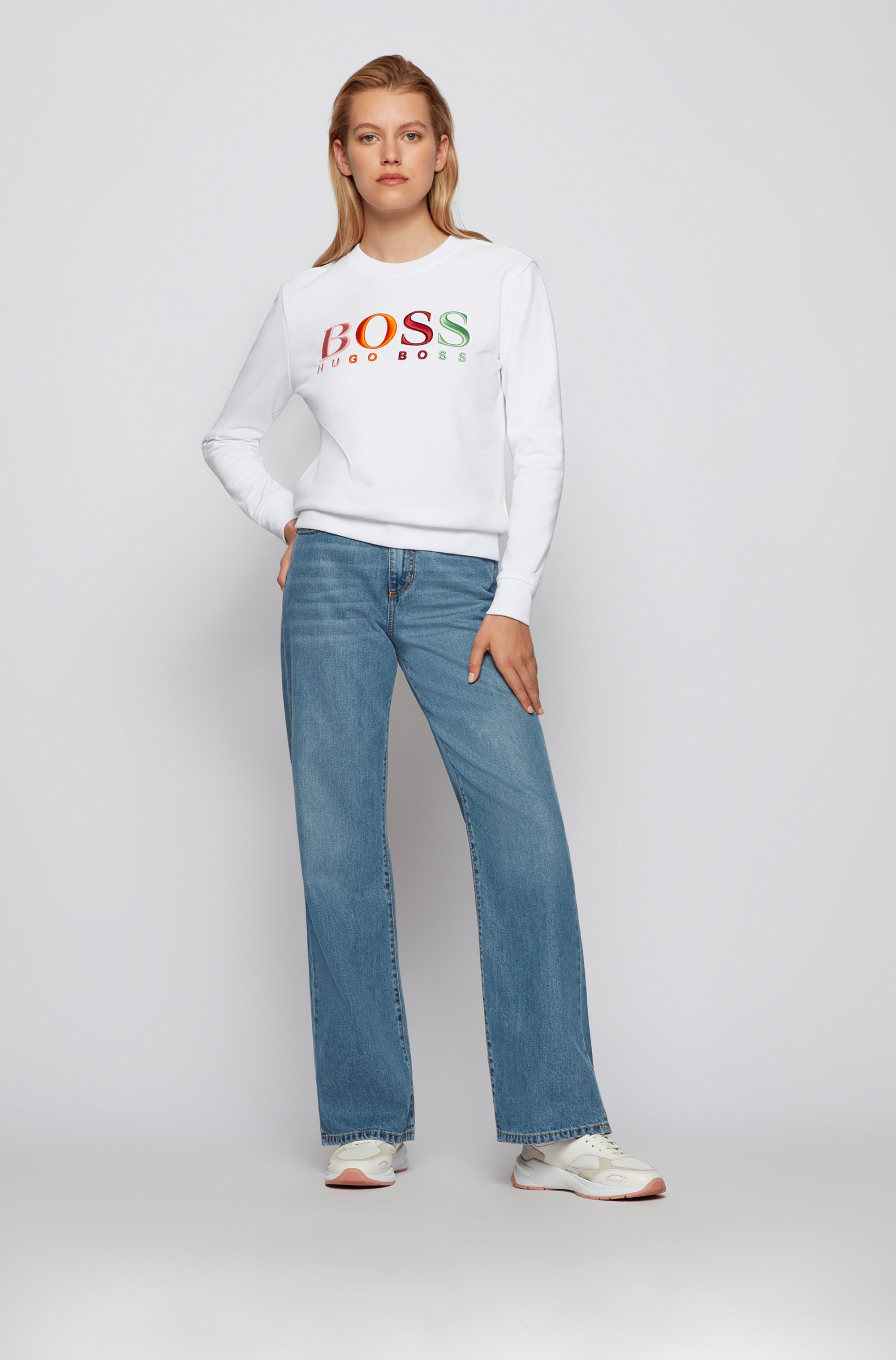 Organic-cotton sweatshirt with multi-coloured logo embroidery
