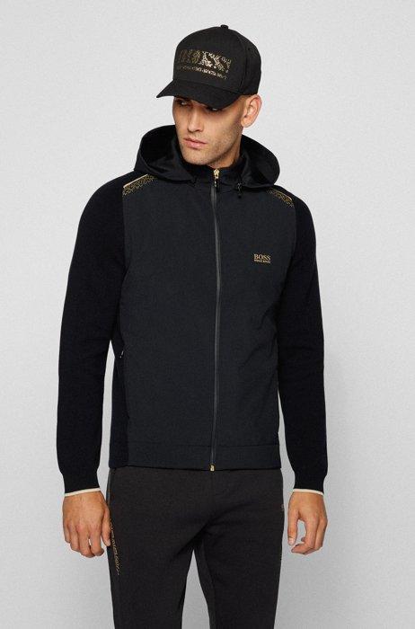 Cardigan hybride à capuche amovible et imprimé pixelisé, Noir