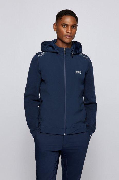 Hybrid cardigan with detachable hood and pixel print, Dark Blue