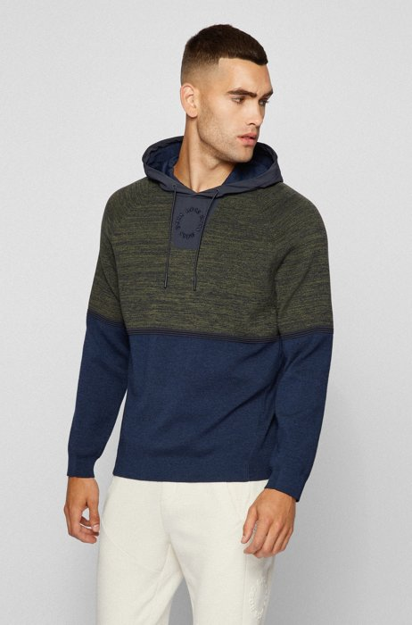 Mouliné relaxed-fit hooded sweater with circular logo embroidery, Light Blue
