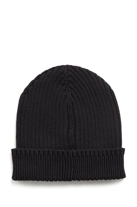 Logo beanie hat in cotton and wool, Black