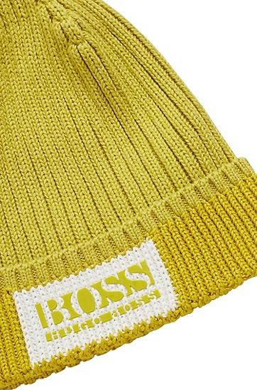 棉加羊毛徽标装饰毛线帽,  321_Bright Green