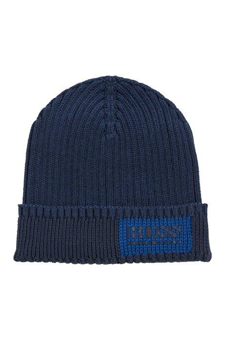 Logo beanie hat in cotton and wool, Dark Blue