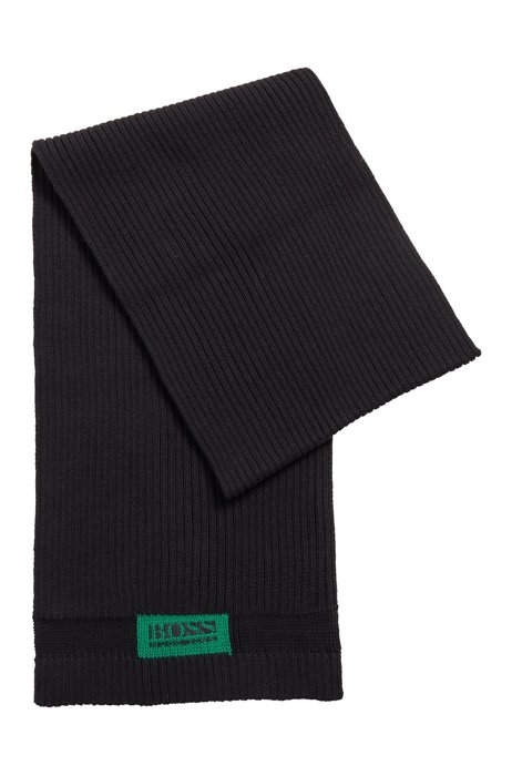 Logo-patch scarf in cotton and wool, Black