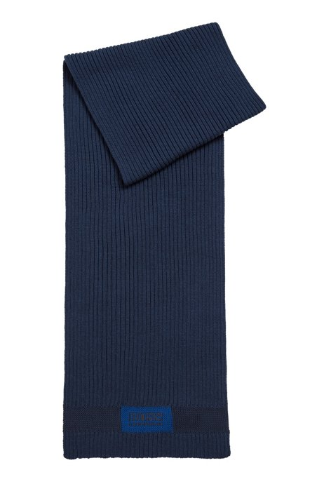Logo-patch scarf in cotton and wool, Dark Blue