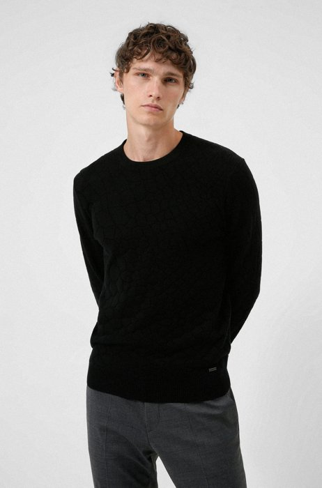 Relaxed-fit cotton-blend sweater with snake motif, Black