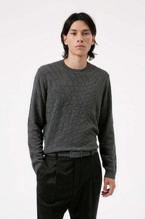 Relaxed-fit cotton-blend sweater with snake motif, Grey
