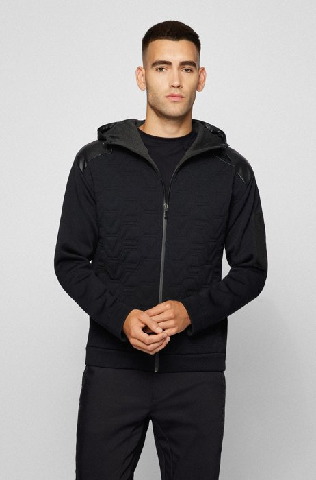 Relaxed-fit cardigan with padding and faux-leather trims, Black