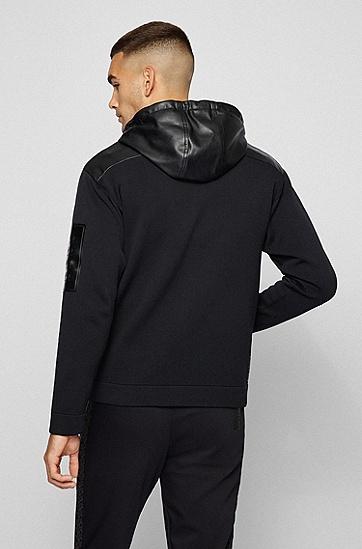 人造革饰边夹棉宽松开衫,  001_Black