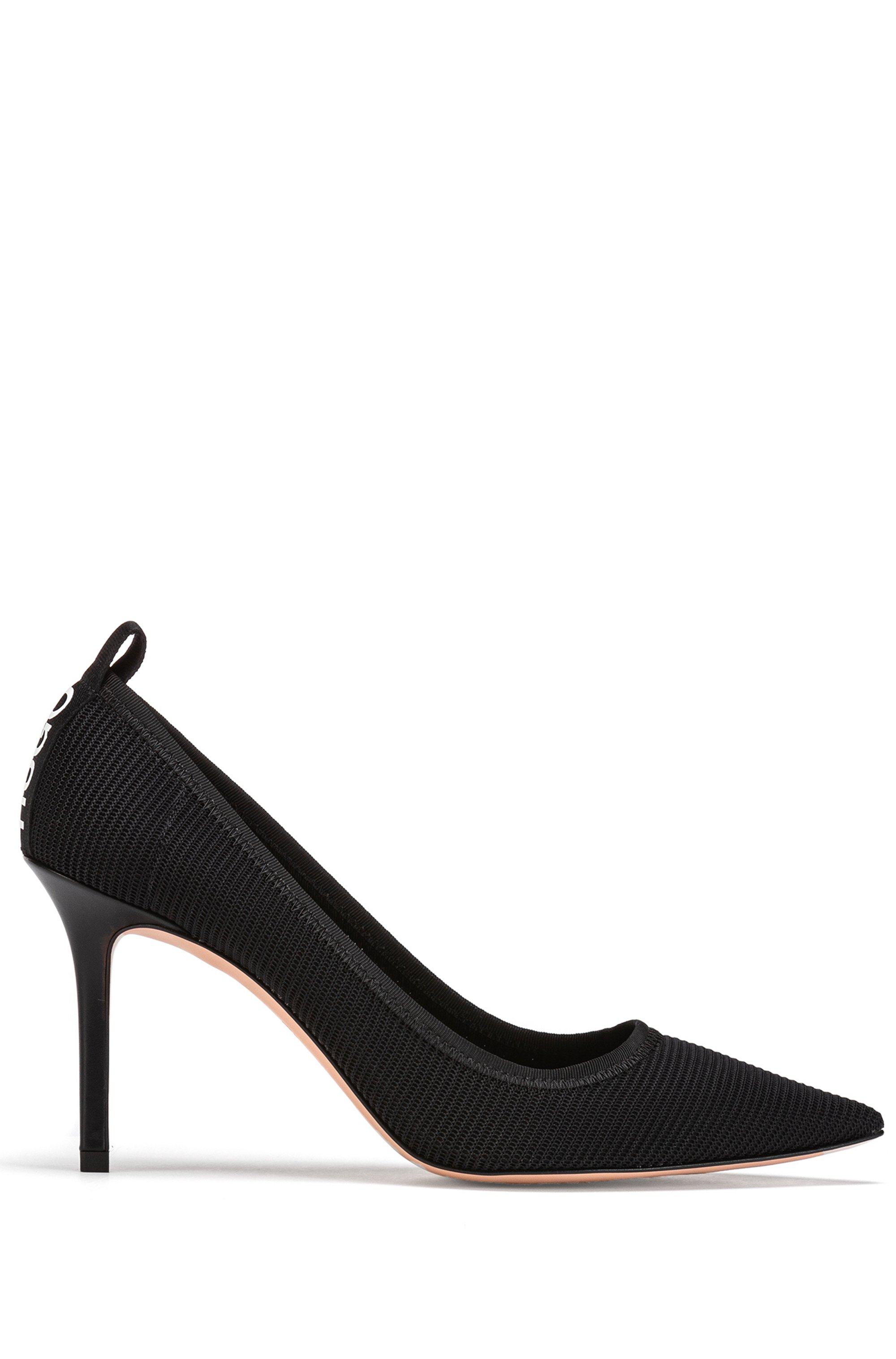 Italian-made mesh pumps with logo heel tab, Black