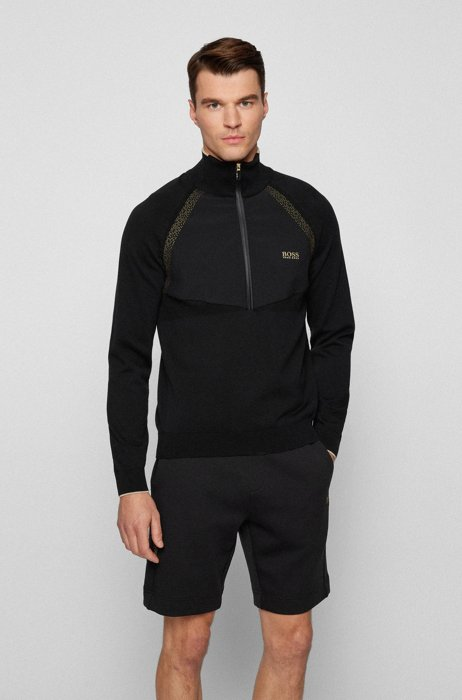 Hybrid sweater with quarter zip and contrast logo, Black
