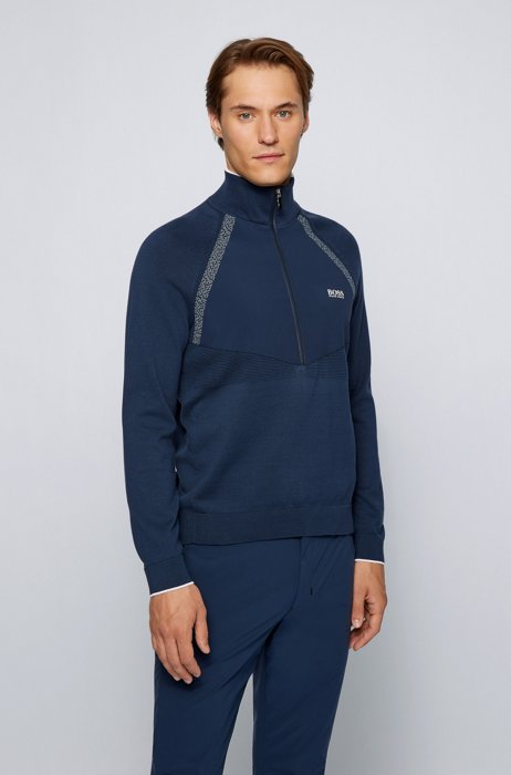 Hybrid sweater with quarter zip and contrast logo, Dark Blue
