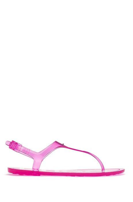 イタリア製 サンダル トランスペアレントPVC ロゴディテール, ピンク
