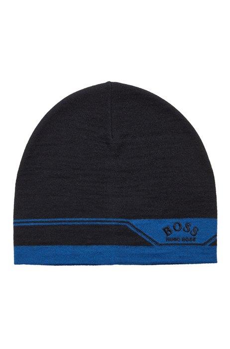 Logo beanie hat with jacquard artwork, Dark Blue