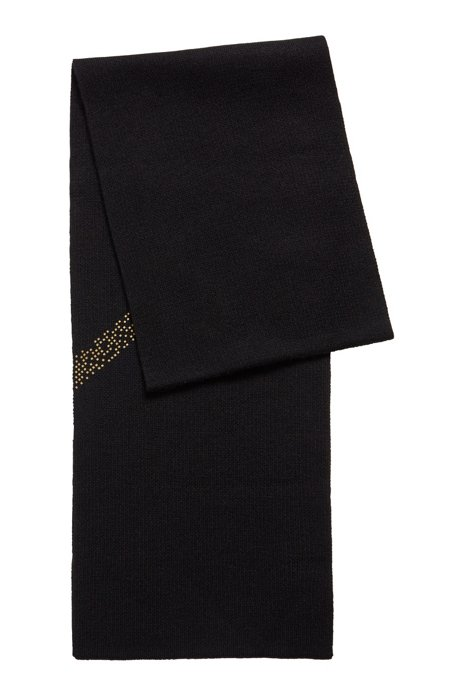 Structure-blocked scarf with new-season pixel print, Black