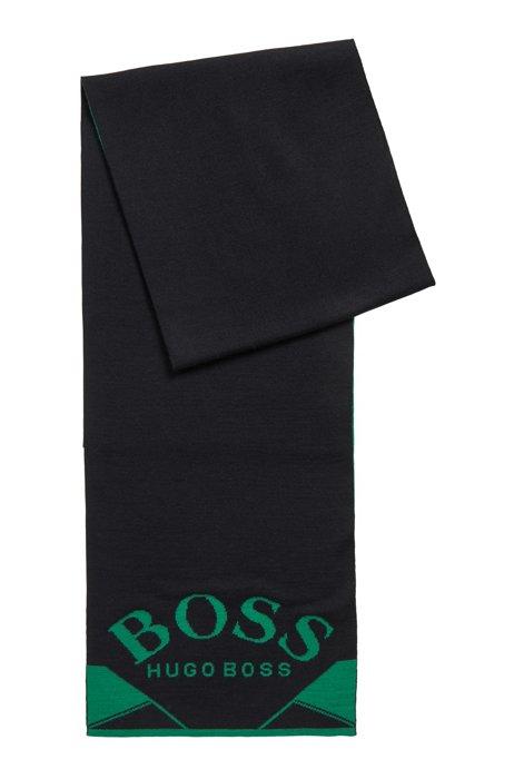 Curved logo scarf with jacquard artwork, Black