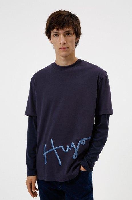 Cotton-jersey T-shirt with oversize handwritten logo embroidery, Dark Blue