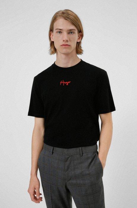 T-shirt van biologische katoen met handgeschreven logostiksel, Zwart