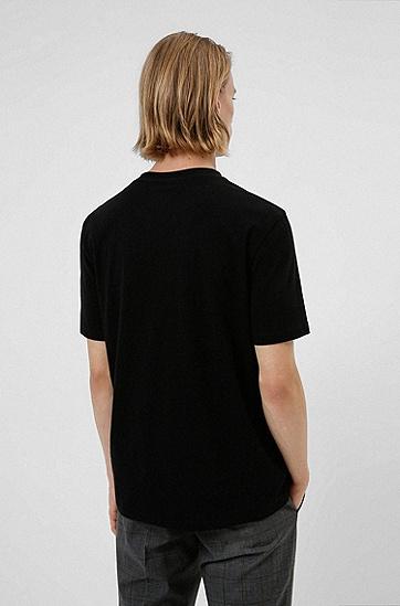 手写徽标刺绣棉质 T 恤,  001_Black