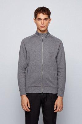 Zip-through sweatshirt in double-faced jersey, Grey