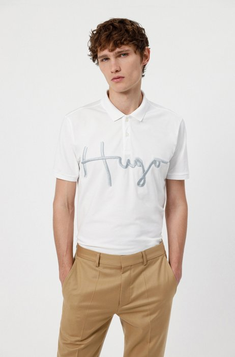 Polo en coton stretch avec logo manuscrit brodé, Blanc
