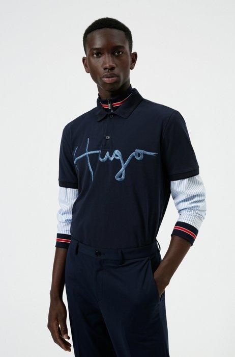 Stretch-cotton polo shirt with handwritten embroidered logo, Dark Blue