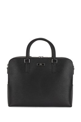 Italian-made calf-leather document case with smart sleeve, Black