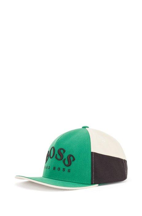 Colour-blocked logo cap in cotton twill, Green