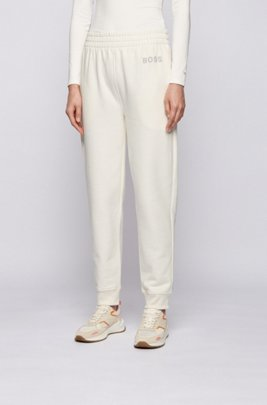 Logo tracksuit bottoms in organic cotton, White