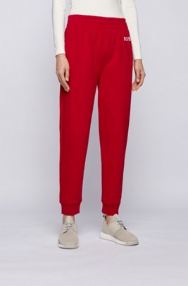 Logo tracksuit bottoms in organic cotton, Red