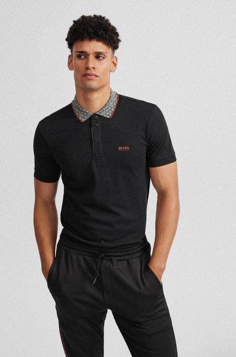 Cotton polo shirt with printed collar and logo, Black