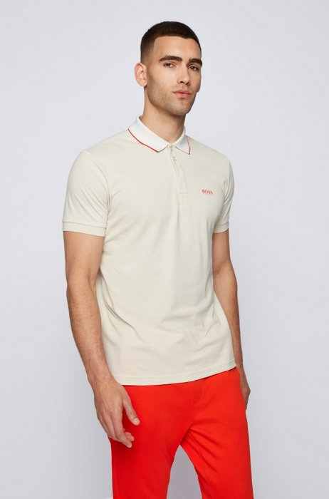 Cotton polo shirt with printed collar and logo, White