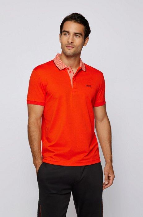 Cotton polo shirt with printed collar and logo, Orange
