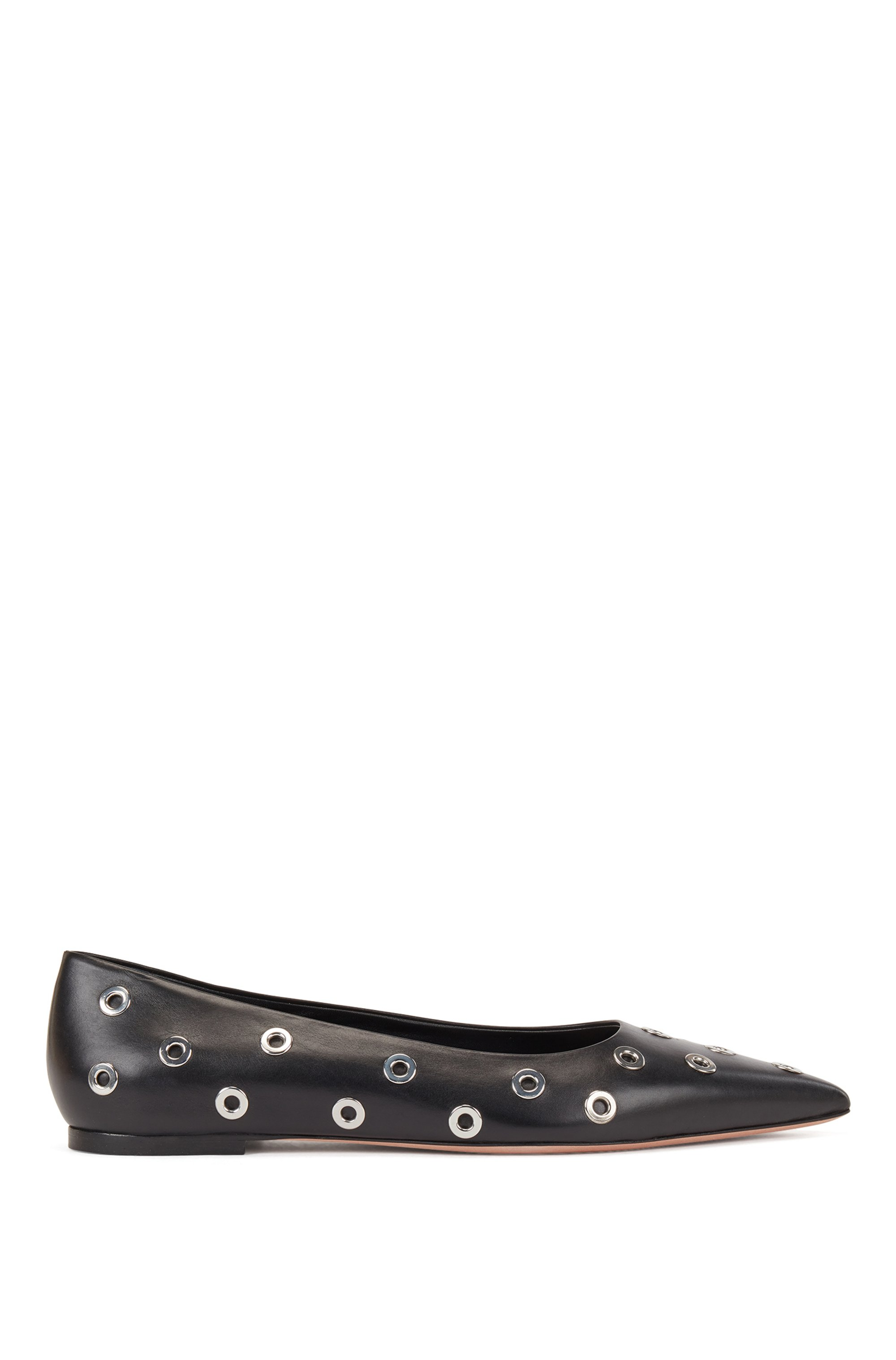 Italian-leather ballerina pumps with metallic eyelets, Black