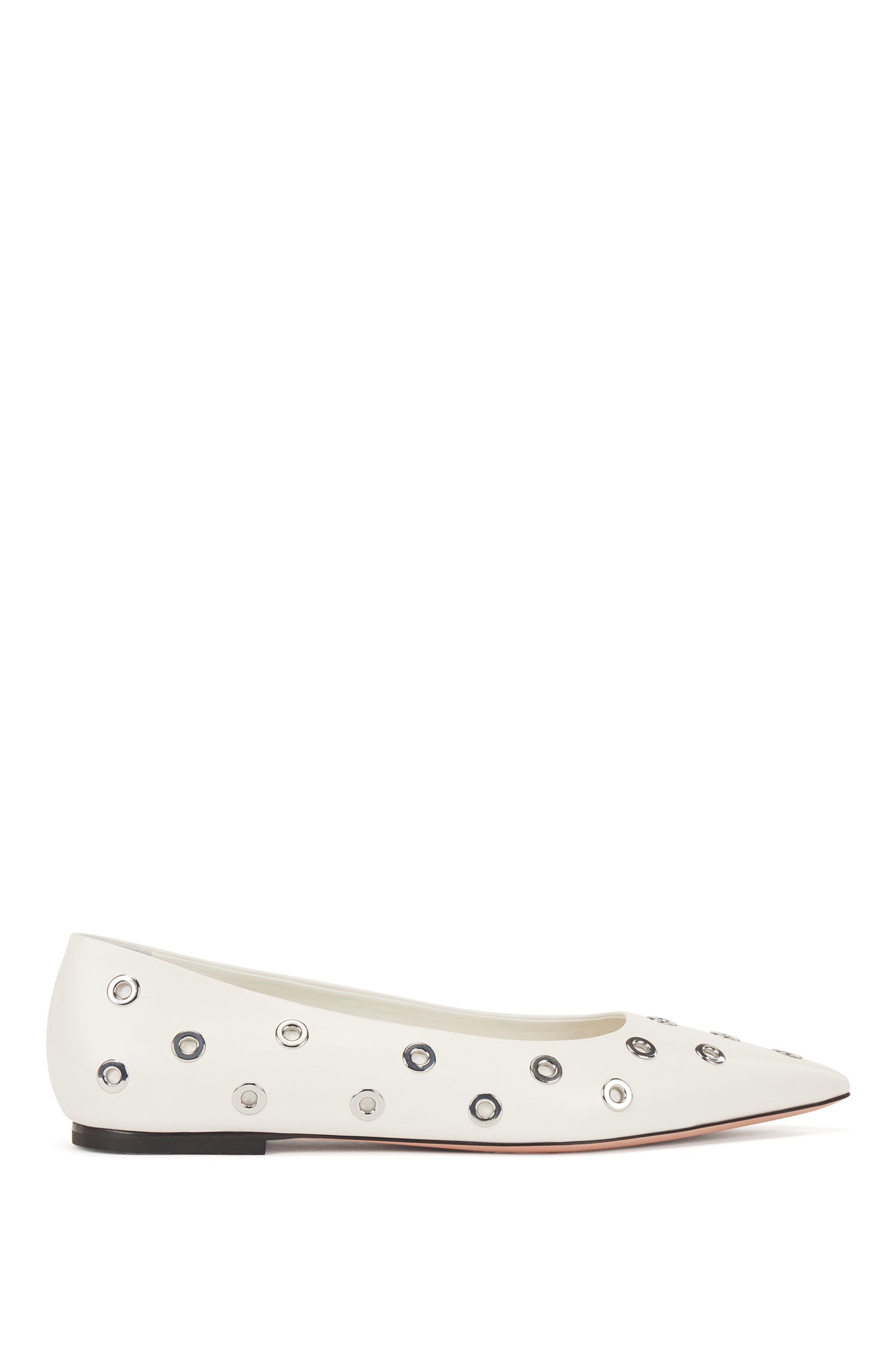 Italian-leather ballerina pumps with metallic eyelets, White