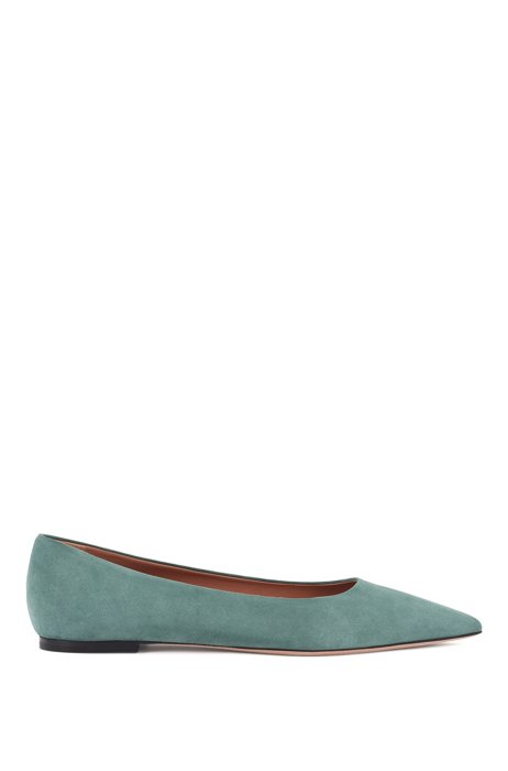 Pointed-toe ballerina pumps in Italian suede, Light Green