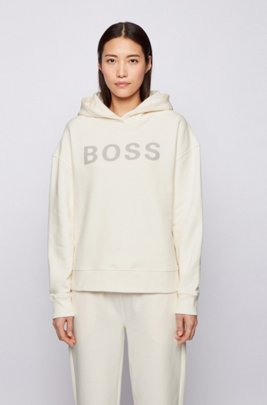 Logo hoodie in organic cotton, White