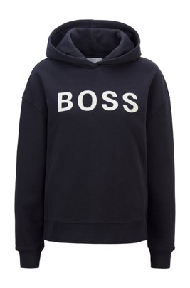 Logo hoodie in organic cotton, Dark Blue