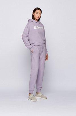 Kapuzen-Sweatshirt aus Bio-Baumwolle mit Logo, Flieder