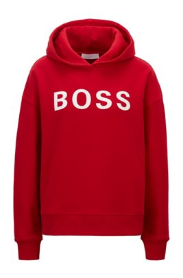 Logo hoodie in organic cotton, Red