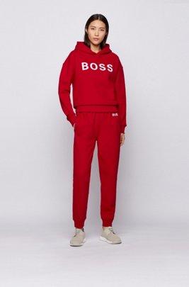 Kapuzen-Sweatshirt aus Bio-Baumwolle mit Logo, Rot
