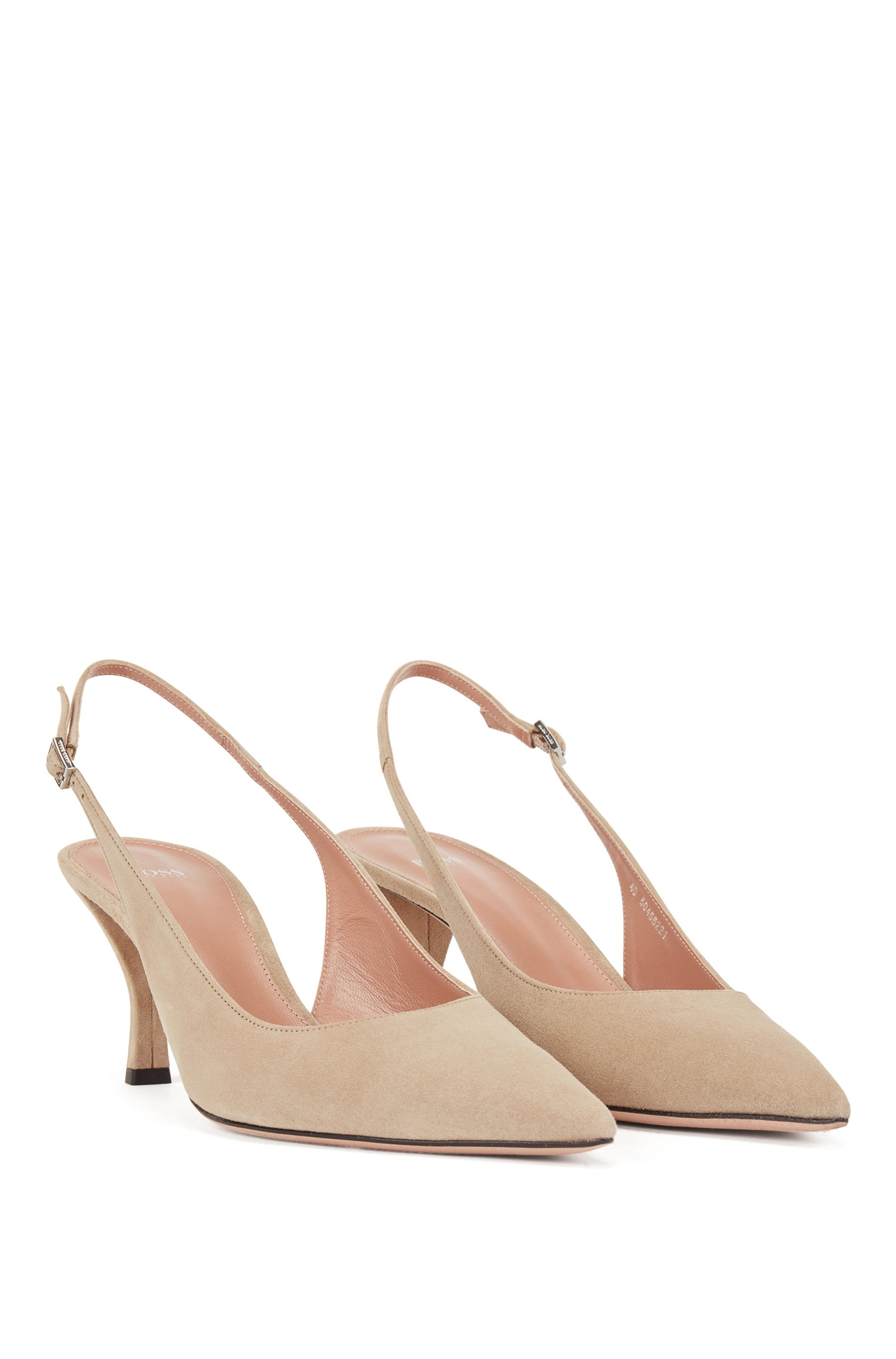 Slingback shoes in Italian suede with pointed toe