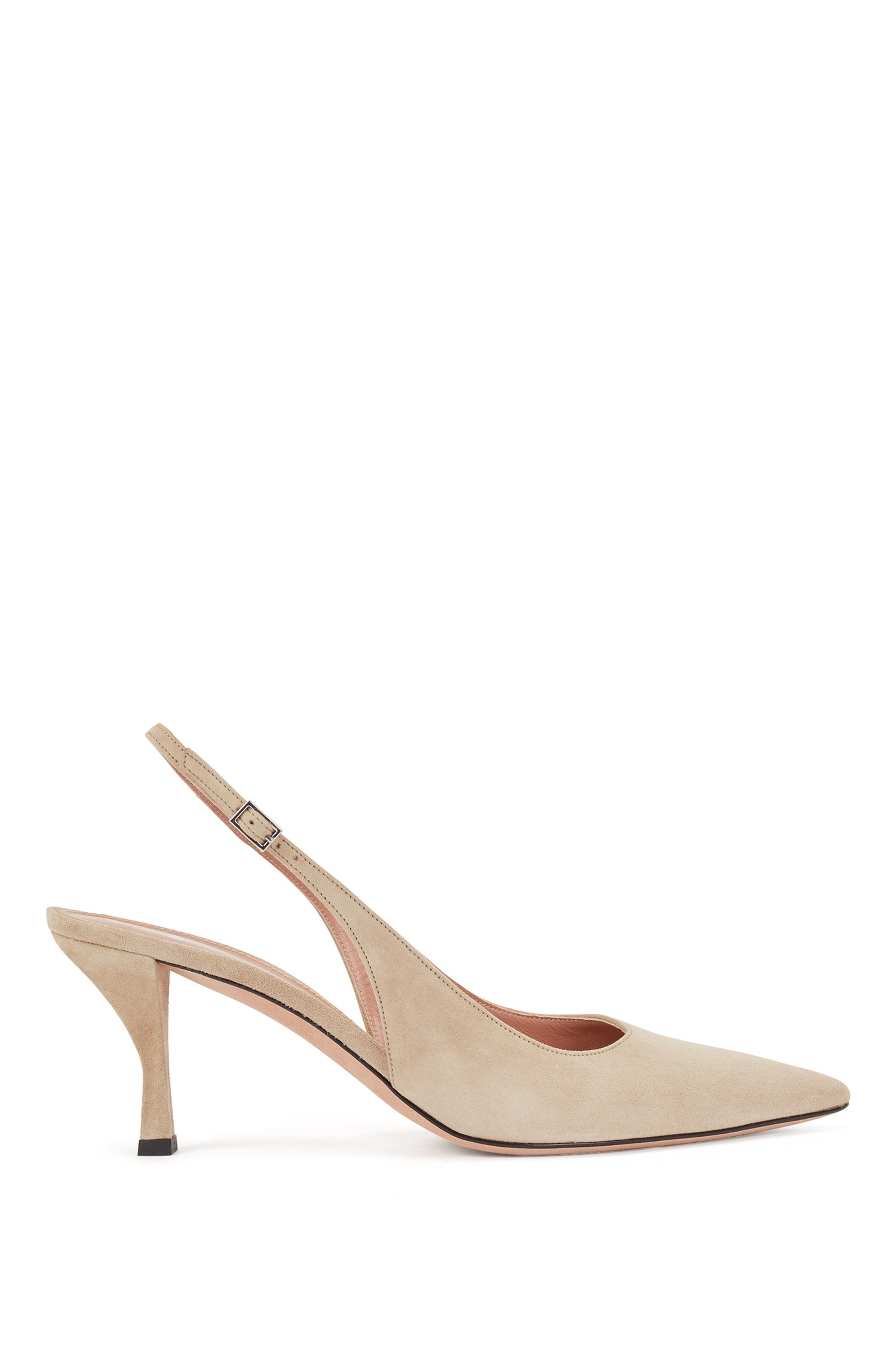 Chaussures à talon ouvert en cuir suédé italien, à bout pointu, Beige