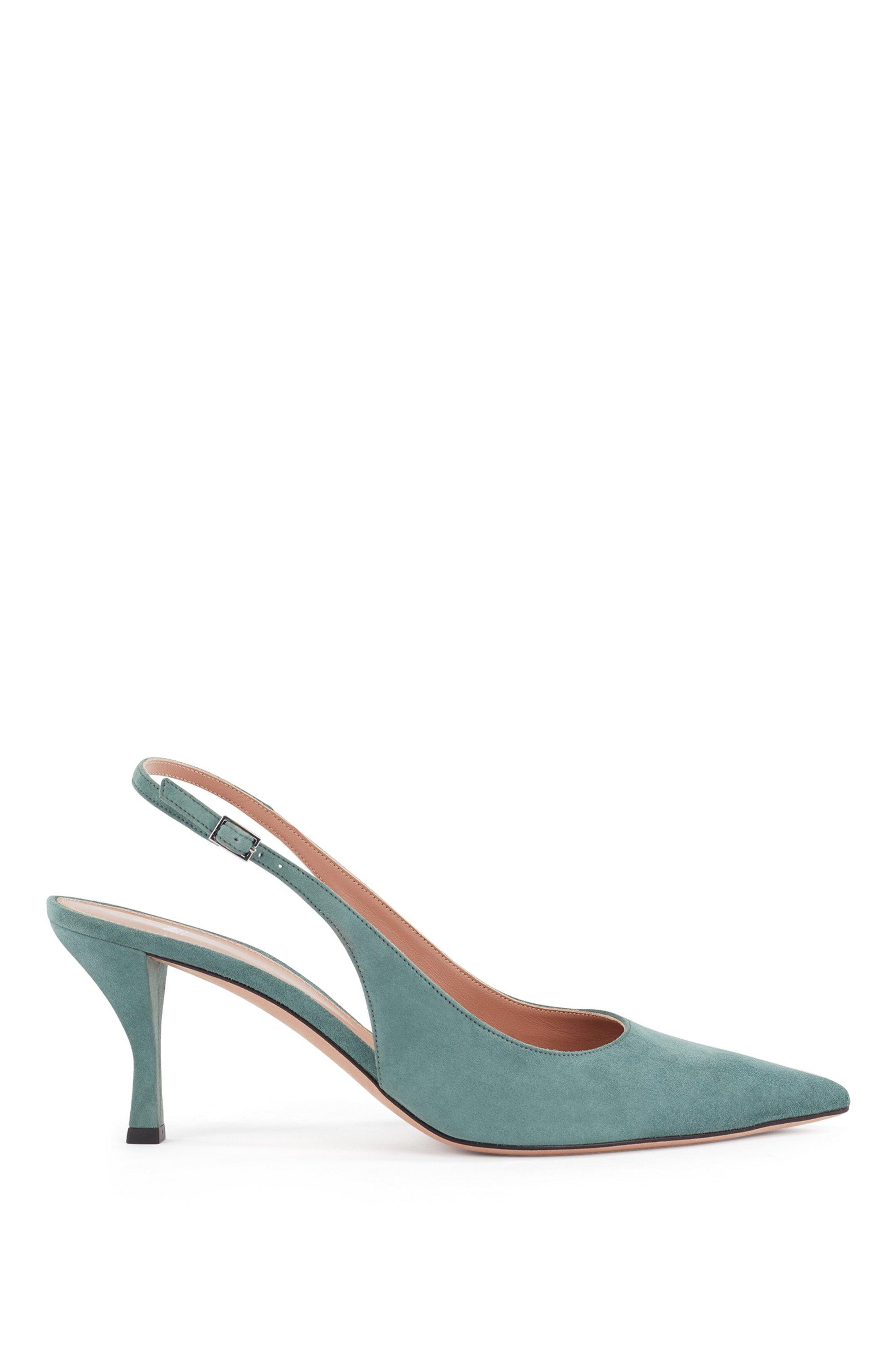Chaussures à talon ouvert en cuir suédé italien, à bout pointu, Chaux