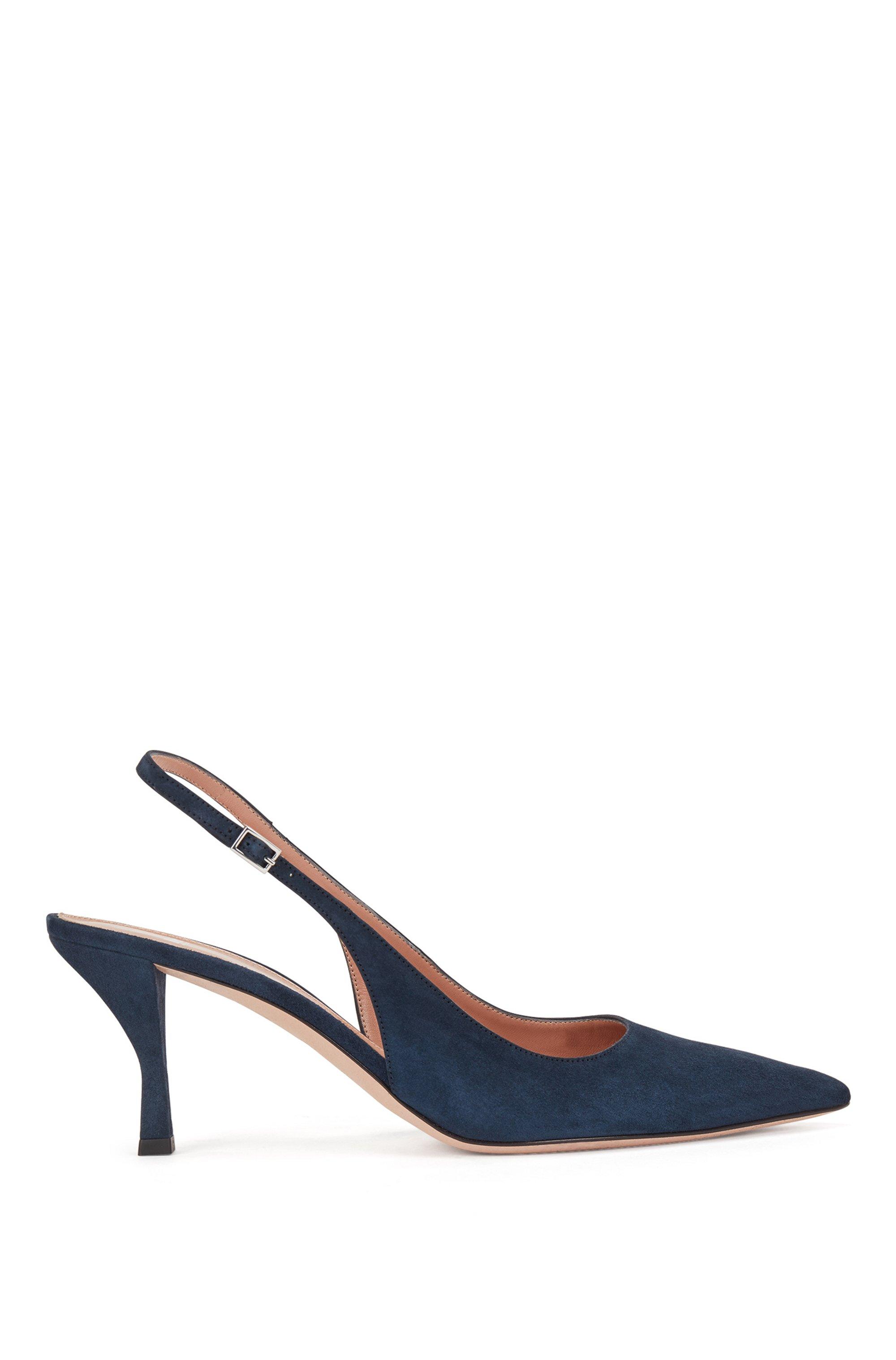 Chaussures à talon ouvert en cuir suédé italien, à bout pointu, Bleu foncé