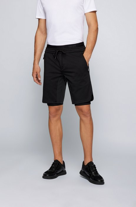 Slim-fit shorts with integrated leggings, Black