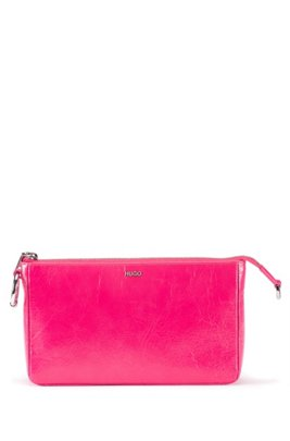 Mini bag in lustrous leather with detachable chain strap, Pink