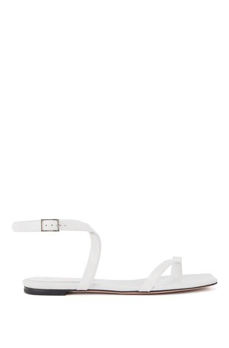 Sandales plates en cuir italien à brides et bout carré, Blanc