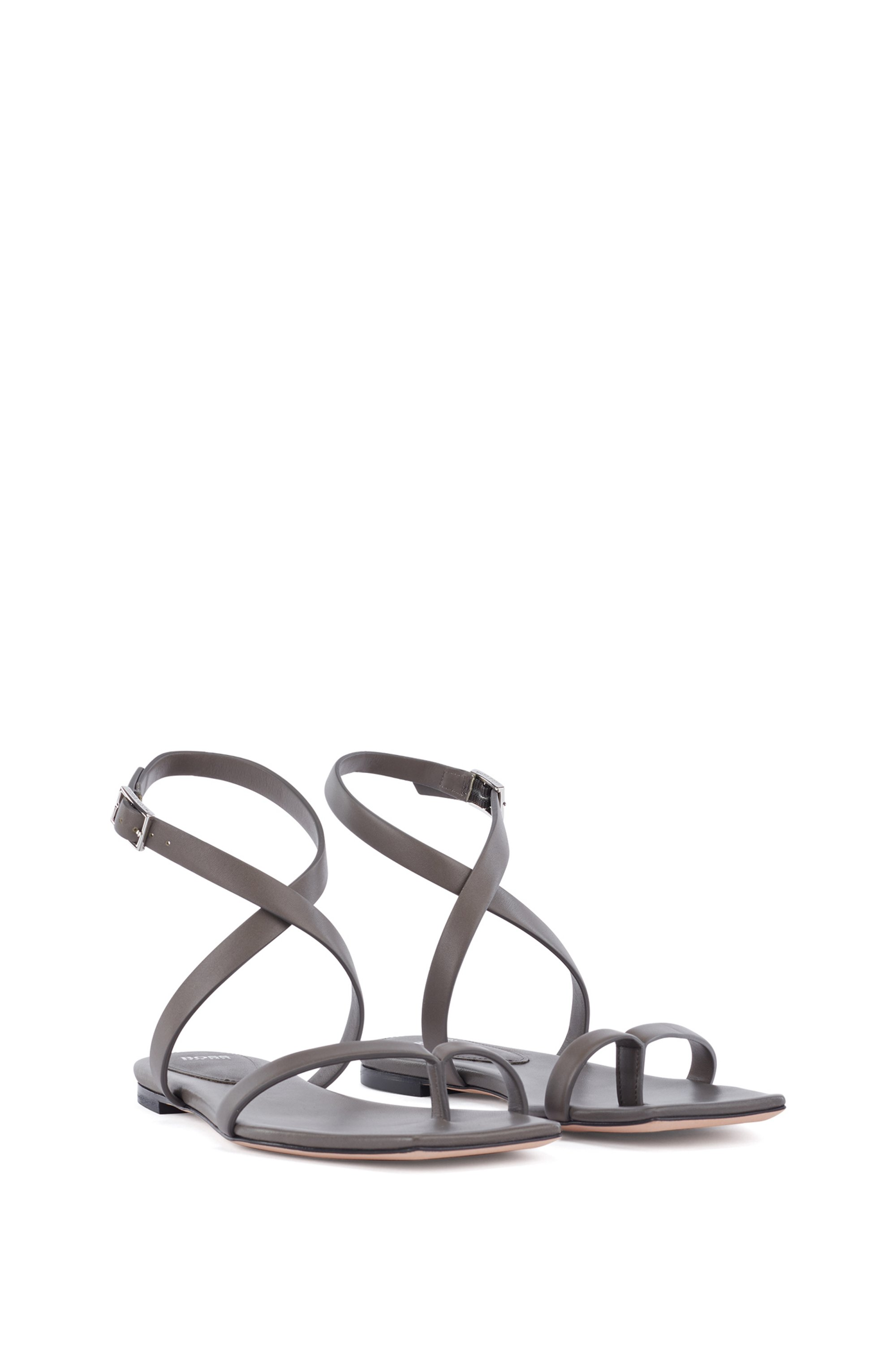 Flat strappy sandals in Italian leather with squared toe